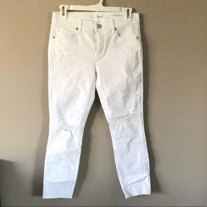 LOFT modern skinny crop destroyed jeans
